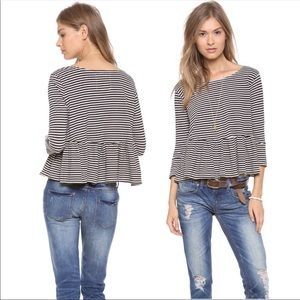We the Free Peplum Cropped Striped Blouse Top XS